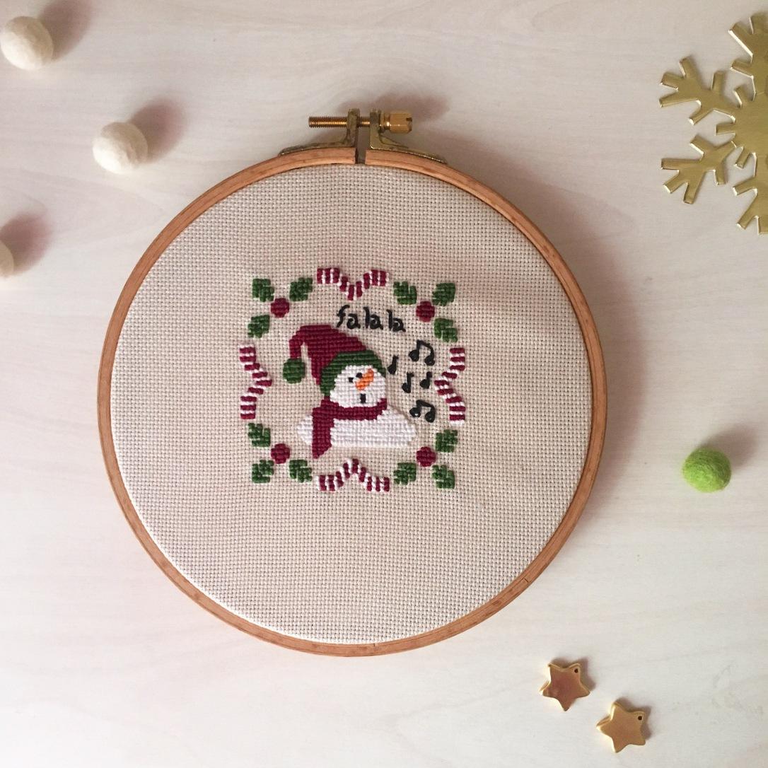 Kardan Adam Kanaviçe Örneği / Snowman Cross stitch Pattern
